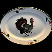 Vintage Blue Ridge Southern Potteries Hand Painted China Turkey Platter