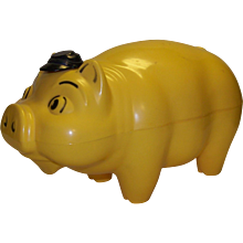Vintage 1960's  Westland Plastics Company Toy Top Hat Piggy Bank