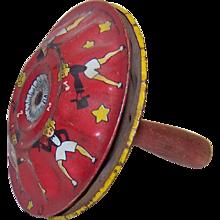 Vintage 1920's Kirchhof Top Hat Girls Tin Litho Hand Noisemaker