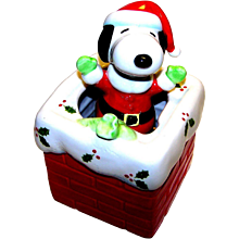 Vintage Schmid Ceramic Snoopy Christmas Music Box