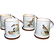 Vintage Porcelain Wild Bird Coffee Mug Set