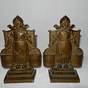 Vintage Pair Cast Bronze DUTCH GIRL bookends circa 1920's