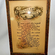 Vintage Art Deco Reinthal and Newman Lithograph Poem- Regular Girl