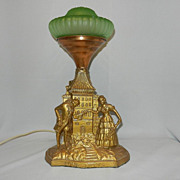 Vintage Art Deco or Art Nouveau Figural Lamp Love Meets