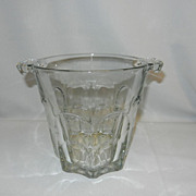 Vintage Glass Ice Bucket- Tab Handles