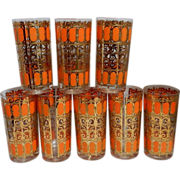 "Vintage Mid-Century  Signed Culver ""Orange Scroll"" Highball Glasses"