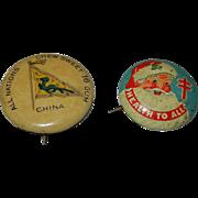 Vintage Pins- Sweet Sixteen Gum- China  and 1950's Santa Tuberculosis  Pin