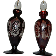 Vintage Ebermann Pigeon Blood Bohemian Intaglio Cut to Clear Perfume Bottles