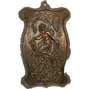Antique circa 1800's Victorian Bronze Finish Cast Iron Wall Plaque of Fishing Goddess
