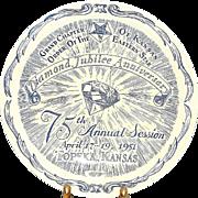 Vernon Kilns Eastern Star Collector Plate- Diamond Jubilee Anniversary Topeka, Kansas