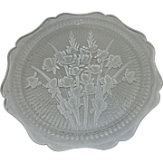 Vintage Depression Glass, Iris and Herringbone Crystal Sandwich Plate by Jeannette Glass Company