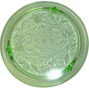 Vintage Green Sunflower Footed Cake Plate by Jeannette Glass