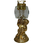 Vintage Cherub with Lamb Metal and Crystal Table Lighter