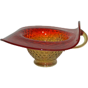 Mid Century Amberina Hobnail Jack in Pulpit Rim with Applied Handle Dish