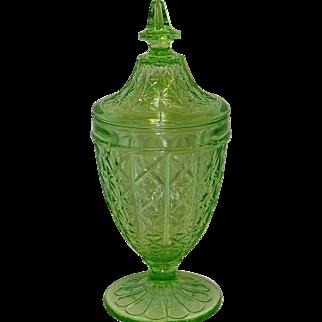 Vintage Green Uranium Depression Glass Candy Dish