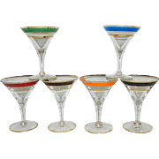 Vintage Mid Century Martini Shaped Cordials
