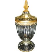 Antique Heisey Paneled Footed Candy Dish with Gold Leaf
