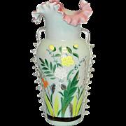 Antique Bristol Hand Blown Victorian Art Glass Hand Painted Vase
