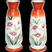 Vintage Bristol Hand Blown Victorian Art Glass Hand Painted Vases