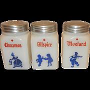 Vintage 1940's Dutch Motif Milk Glass Spice Shakers