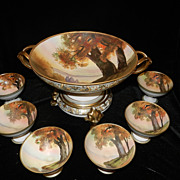 Antique Nippon Morimura Brothers Punch Bowl and Cups