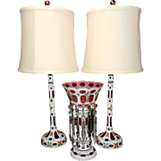 Vintage Bohemian Candlestick White Cased Cranberry Glass Electric Lamps with Matching Luster