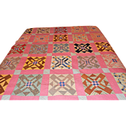 Vintage Hand Stitched Quilt Geometric Squares