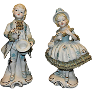 Vintage Porcelain French or Colonial Couple Figurines with Lace and Gilt