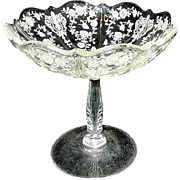 Vintage Rose Point by Cambridge Glass Compote