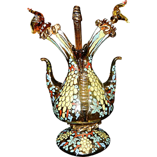 Vintage Signed Double Glass Hand Decorated Art Glass Oil and Vinegar Cruet