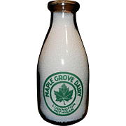 Vintage 1940's Maple Grove Dairy Ludington Michigan Pyro Quart Milk Bottle