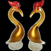 Vintage Murano Sommerso Gold Aventurine Birds
