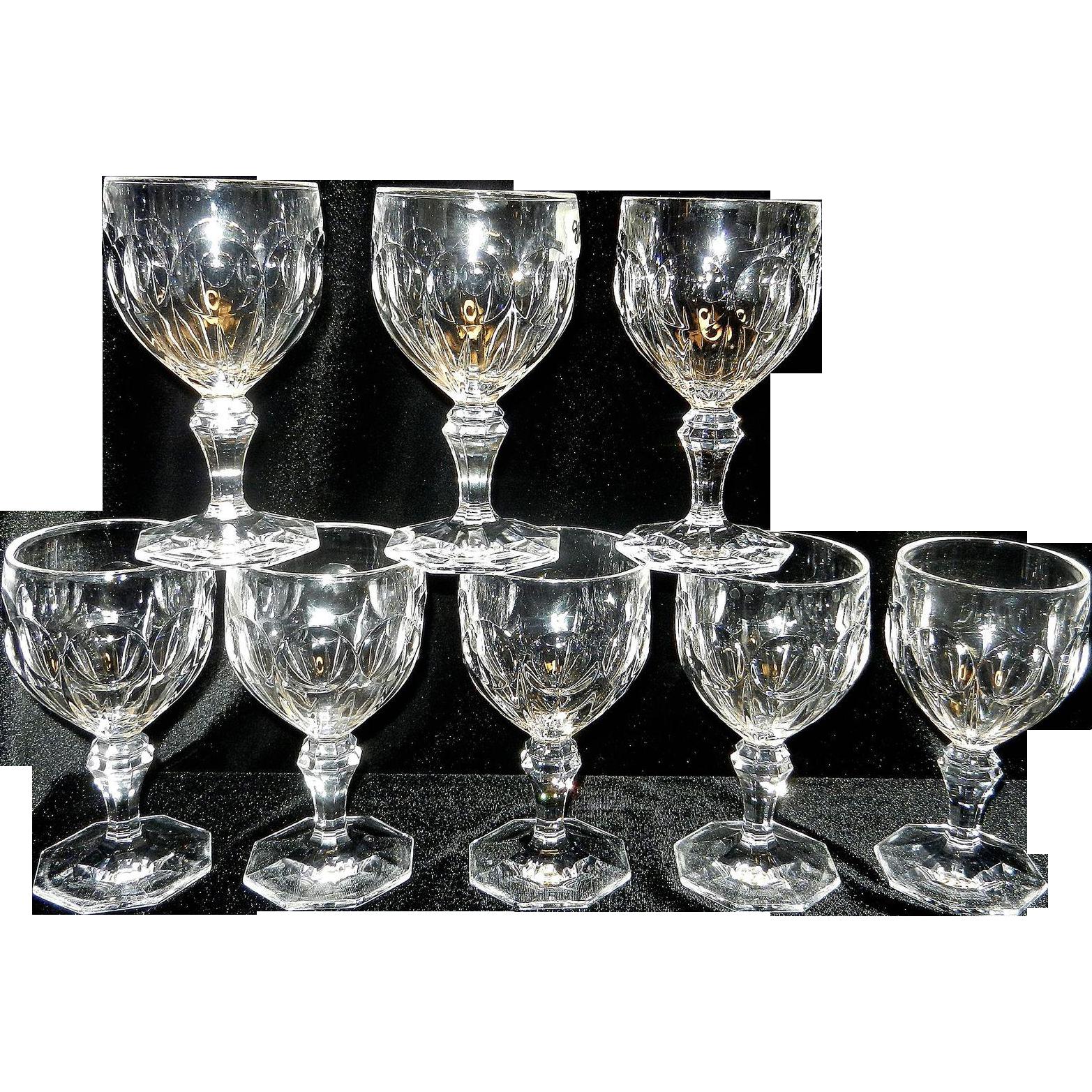 Vintage Thumbprint Crystal Wine Or Water Stemware My