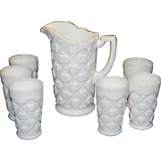 Vintage Westmoreland Milk Glass Old Quilt Pattern Pitcher and Juice Glasses