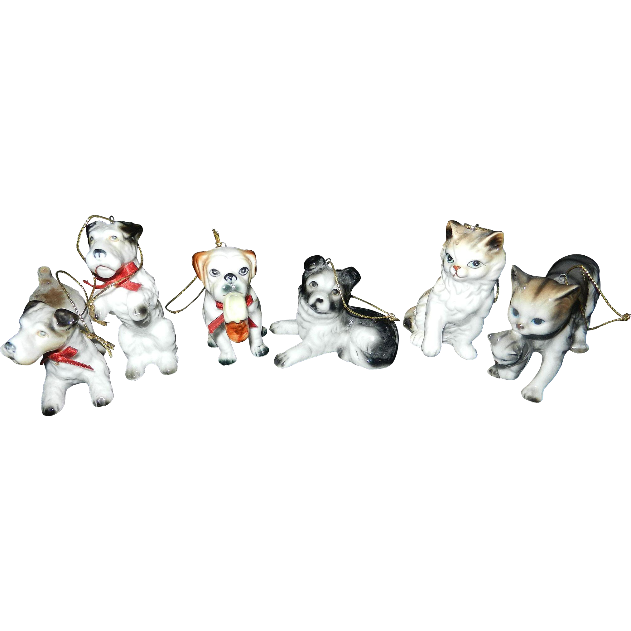 Vintage Dogs and Cats Christmas Tree Orniaments from