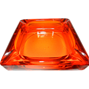 Vintage Orange Viking Glass Ashtray