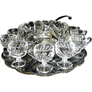Vintage Indiana Glass Willow Oleander #1008 Punch Bowl and Footed Cups with Glass Ladle