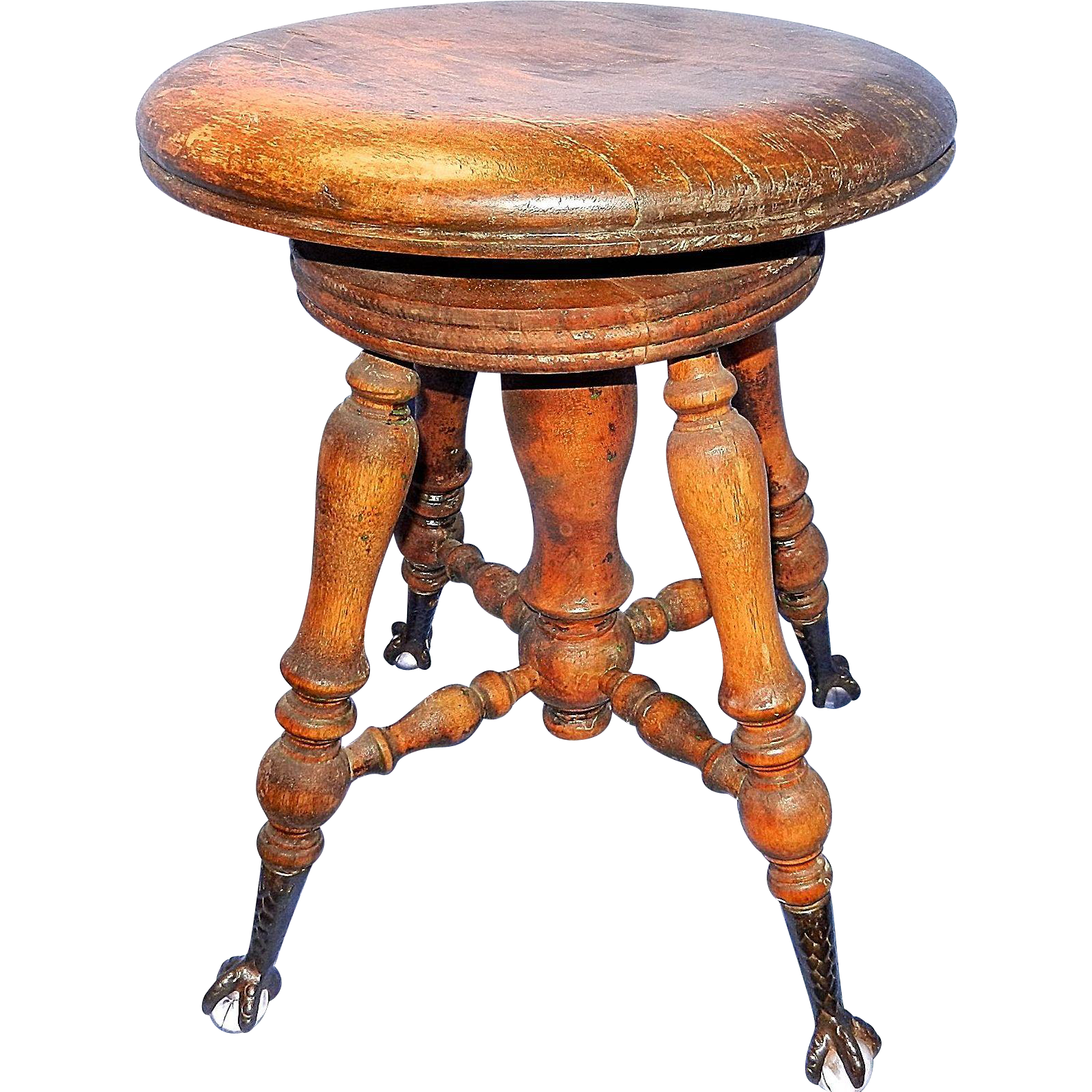 Antique Wood Piano Stool With Glass Marble Cast Iron Claw
