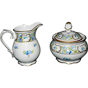 "Vintage Schumann Bavaria ""Forget Me Not"" Creamer and Sugar Bowl with Lid"