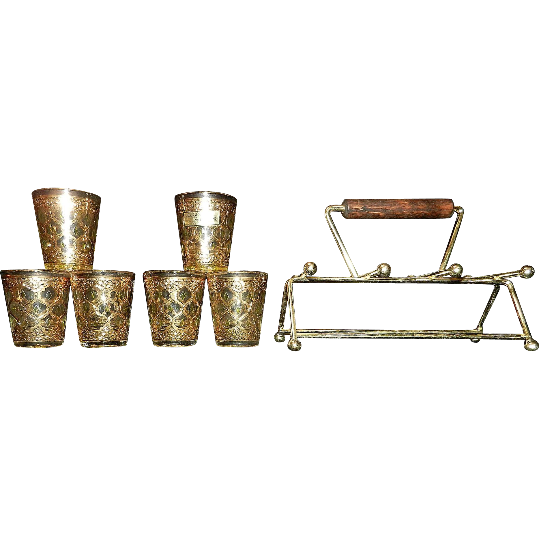 Vintage culver valencia shot glasses with caddy from - Vintage valencia ...