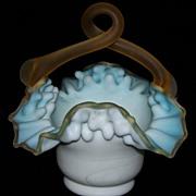 Antique Victorian Tri Color Glass Basket