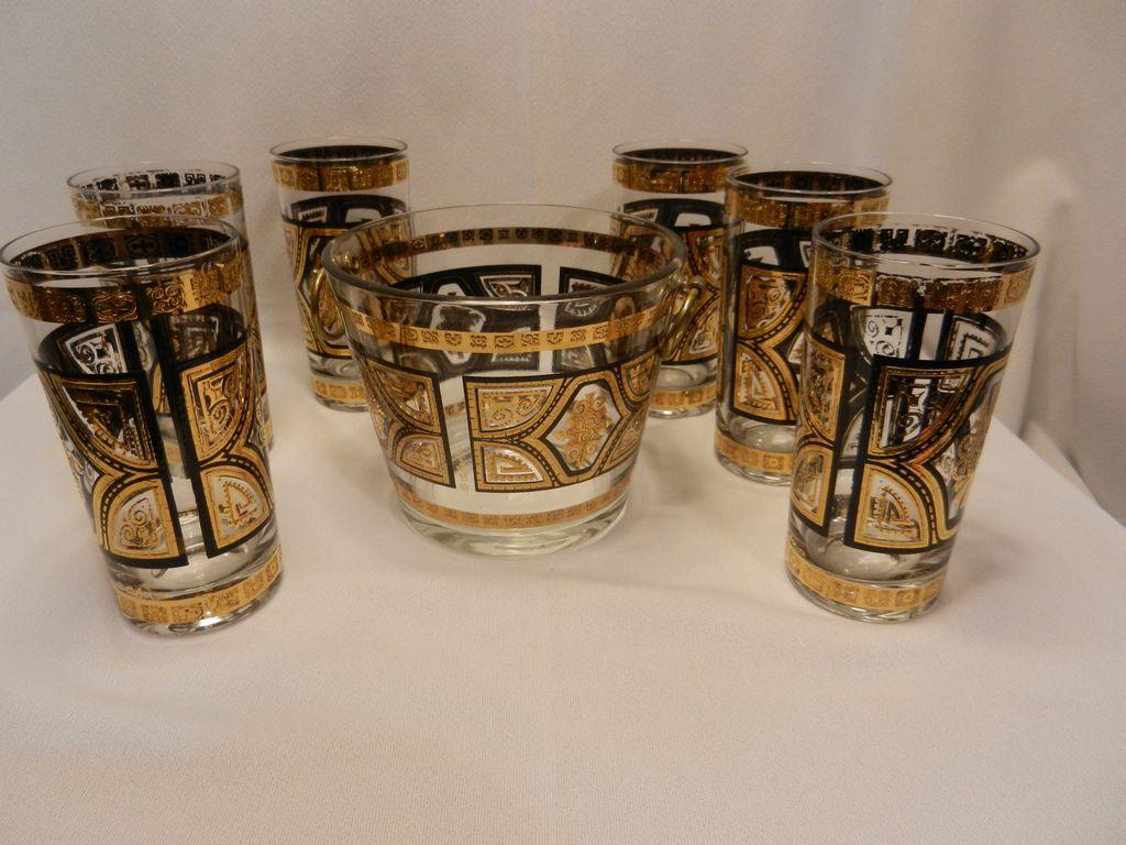 Vintage Culver Ice Bucket and Glasses- Eames Era