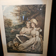 Antique Mezzotint The Ladies Frankland by William Ward-