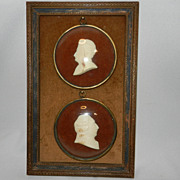 Antique French Cameos Under Glass- Signed