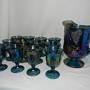 Vintage Indiana Carnival Glass Harvest Pitcher and Goblets