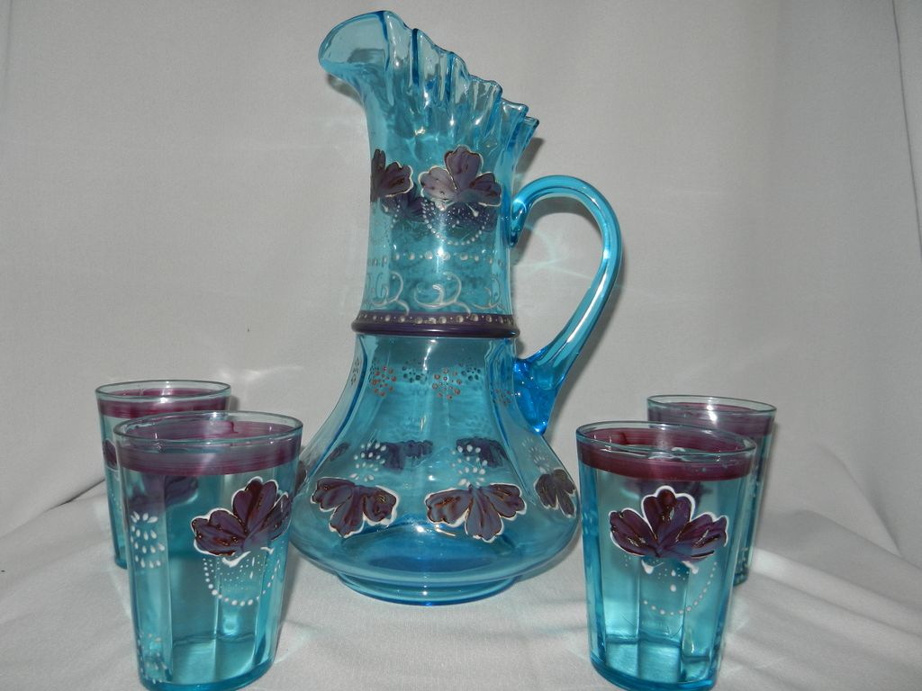 Antique Victorian Hand Blown and Painted Blue Water Set