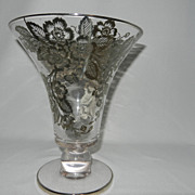 Vintage Fostoria Silver City Blossom Time Silver Overlay Tall Crystal Vase.