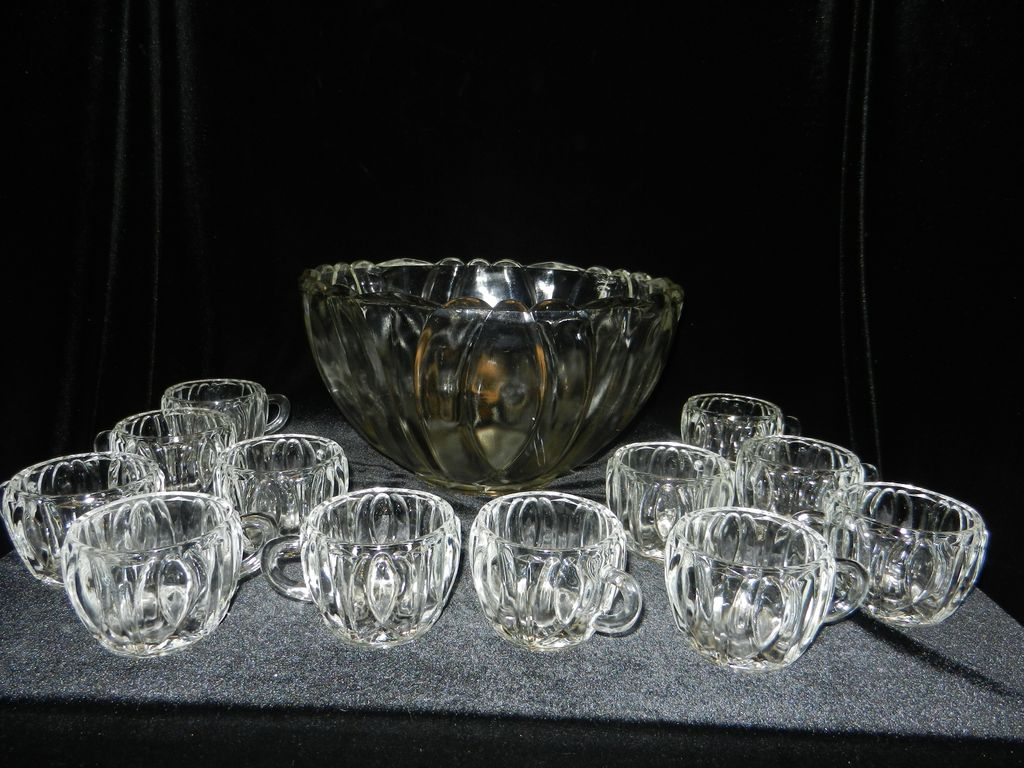 Vintage Crystal Punch Bowl Set