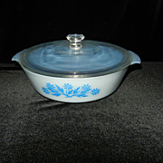 Vinitage Rare Fire King 2 Qt Blue Cornflower Casserole with Blue Inside