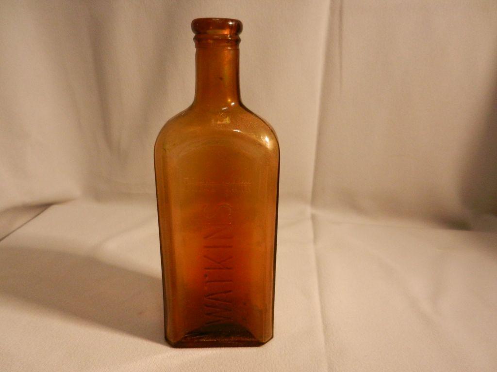 Vintage Embossed Amber Watkins Cork  Top  Extract or Medicine Bottle